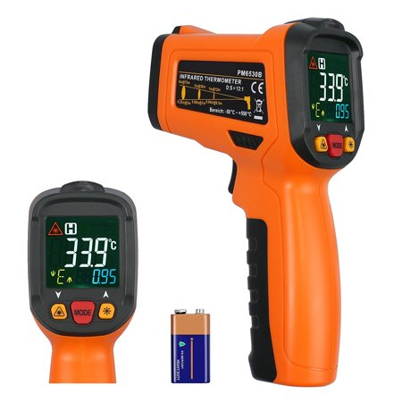 Digital Laser Temperature Gun Infrared Thermometer Gun Non-contact Meat BBQ Cooking Thermometer Gun -58'Ñâ~1022'Ñâ Large Color Backlit Display with 12 Point Aperture Temperature Alarm Function (Meat Gun)