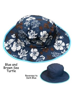 Uv Blue Sea Turtle Reversible Hat Ages - 2-5 Years