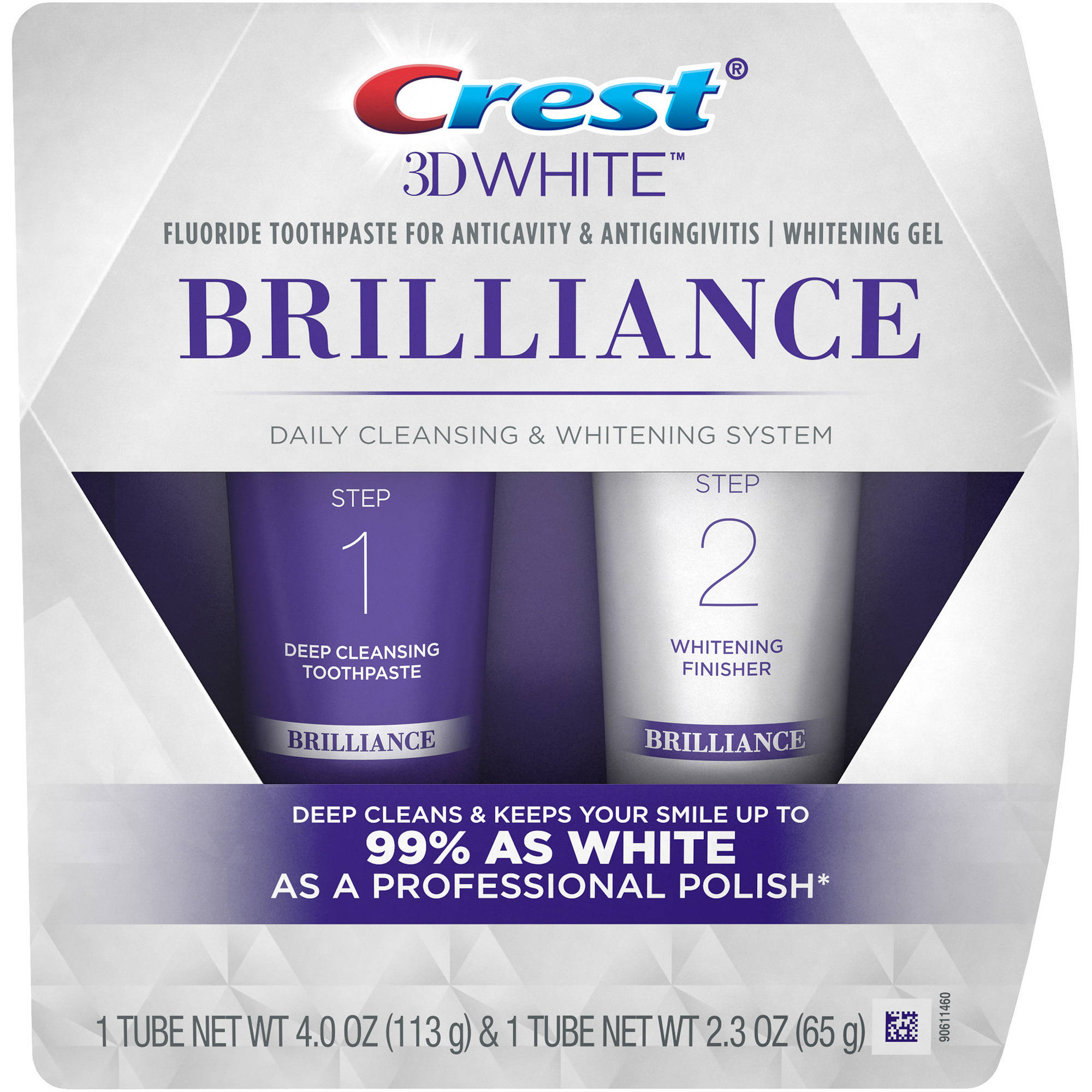 Crest 3D White Brilliance Daily Cleansing Toothpaste and Whitening Gel System, 2 pc