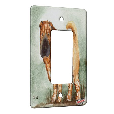KuzmarK™ 1 Gang Rocker Wall Plate - Fawn Chinese Shar Pei Puppy on Sage Dog Art by Denise -