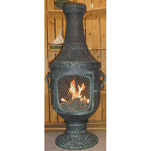 The Blue Rooster Cast Aluminum Gas Chiminea by