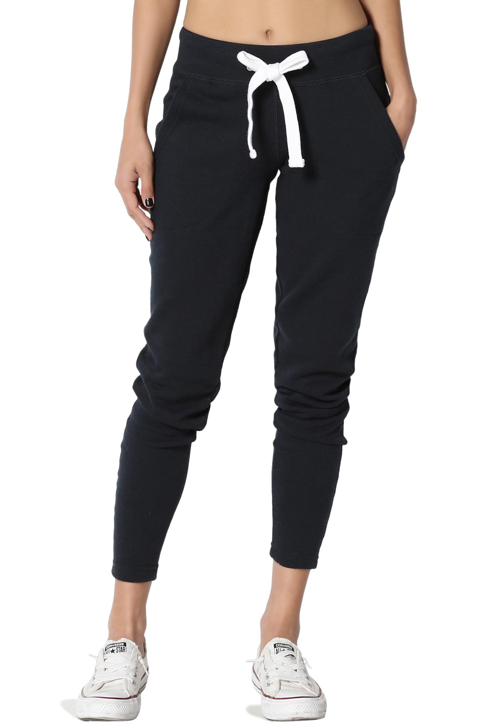 TheMogan Junior's Drawstring Soft Stretch Fleece Knit Slim Skinny Jogger Pants