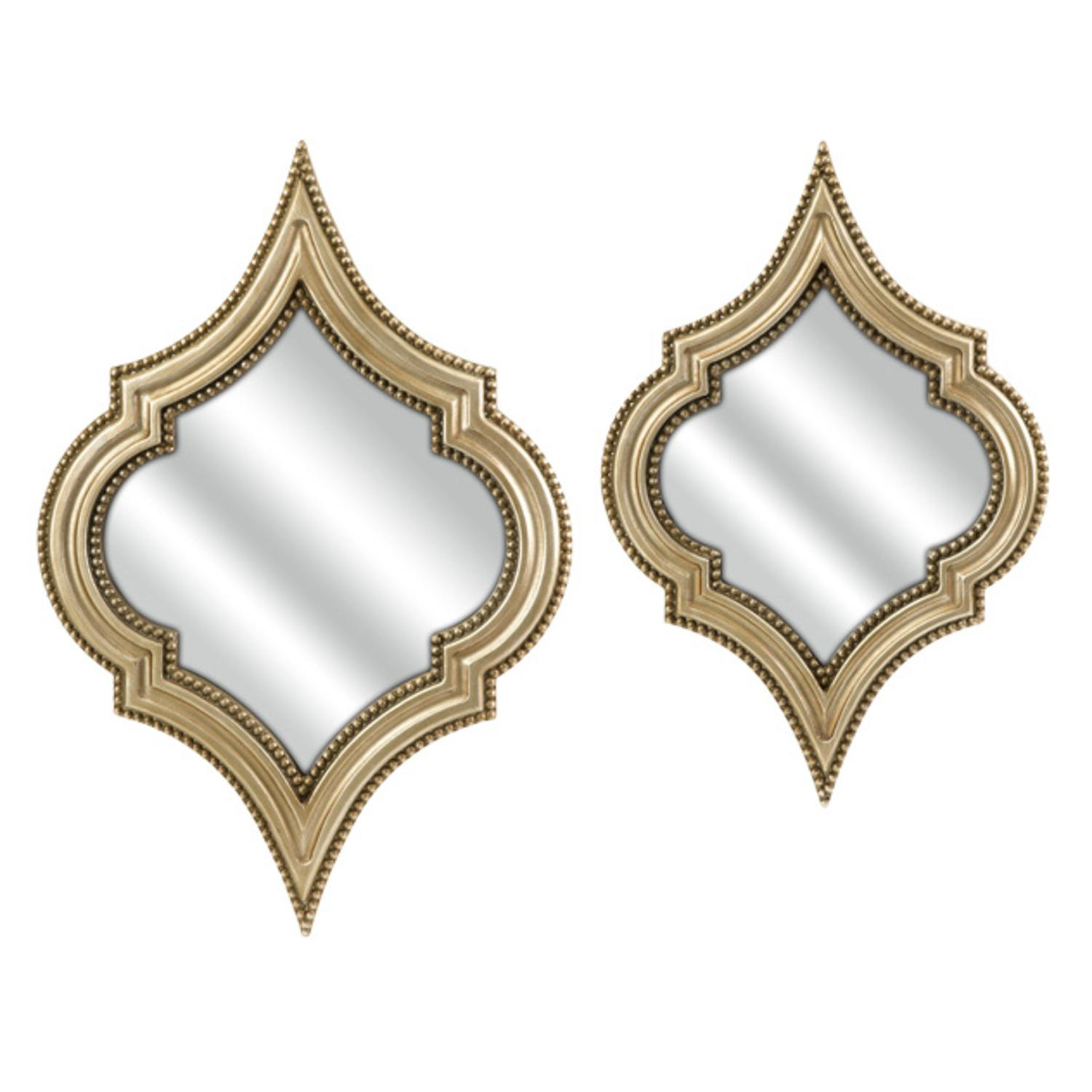 Set of 2 Malena Moroccan Inspired Gold Champagne Wall Mirrors 27""