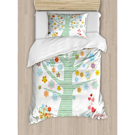 Nursery Twin Size Duvet Cover Set, Romantic Owls In Love and Big Tree with Colorful Blossoms Bird Bouquet, Decorative 2 Piece Bedding Set with 1 Pillow Sham, Mint Green Multicolor, by Ambesonne