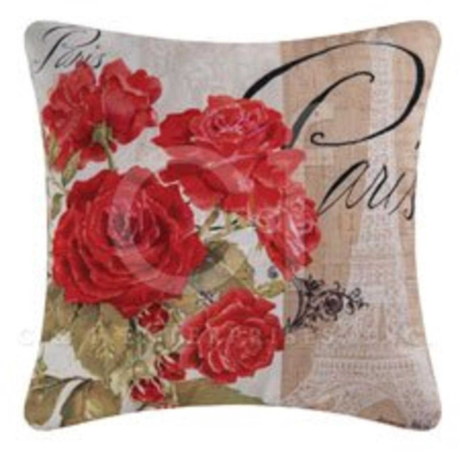 "18"" Decorative ""Paris"" and Red Roses Square Outdoor Throw Pillow - Polyester Down Filler"