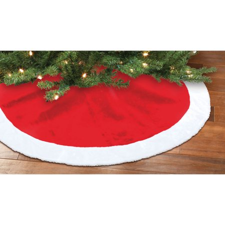 Holiday Time Christmas Decor Red and White Plush Tree Skirt ...