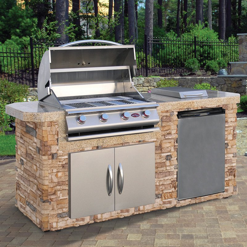 Cal Flame 7 ft. Natural Stone Grill Island With 4 Burner Gas Grill