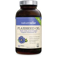 NatureWise Organic Flaxseed Oil Max 720mg ALA | Highest Potency Flax Oil Omega 3 for Cardiovascular, Brain, Immune Support & Healthy Hair, Skin, & Nails | Gluten Free Non-GMO [4 Month - 240 Softgels]