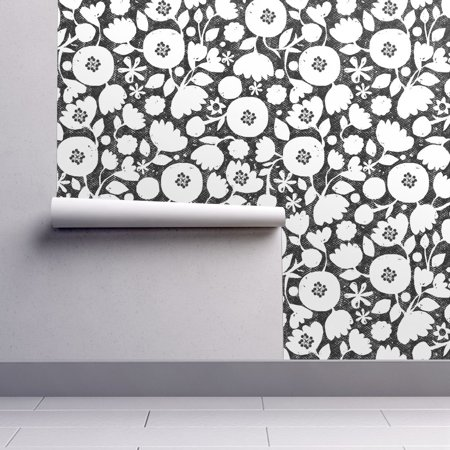 Removable Water-Activated Wallpaper Black And White Floral Mod Flower Flowers