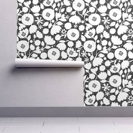 Peel-and-Stick Removable Wallpaper Black And White Floral Mod Flower Flowers