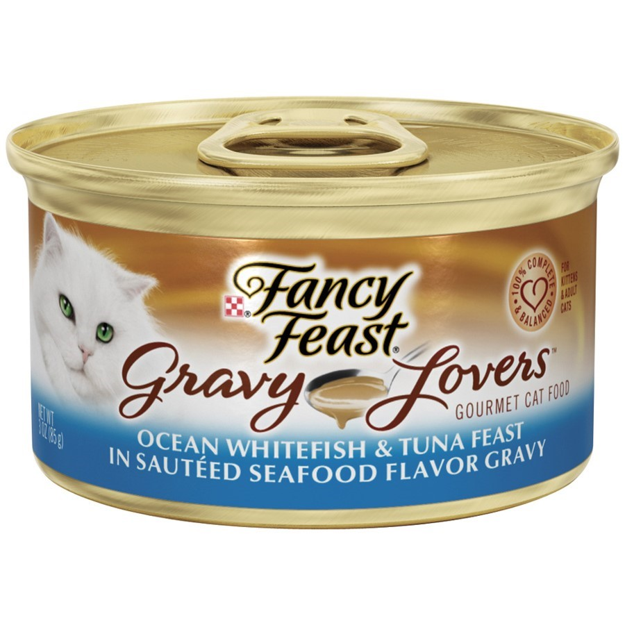 Purina Fancy Feast Gravy Lovers Ocean Whitefish & Tuna Feast in Sauteed Seafood Flavor Gravy Cat Food Case of 24- 3 oz. Cans
