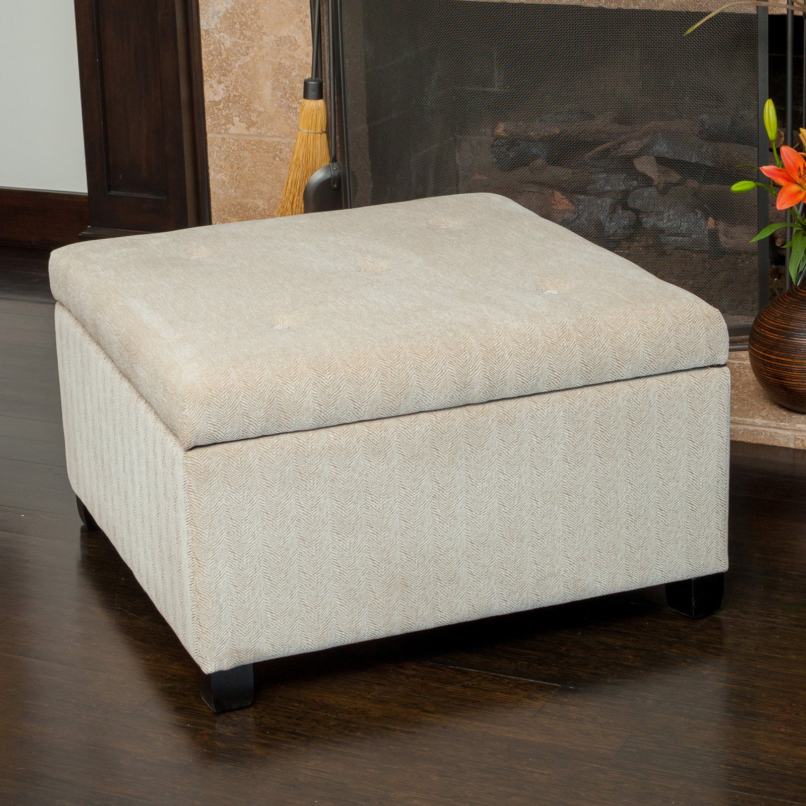 Best Selling Home Stephon Wheat Tufted Storage Ottoman