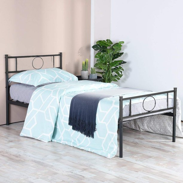 HOMY CASA Twin Bed Frame Platform with Headboard and Stable Metal Slats Mattress Base Boxspring Replacement, Black