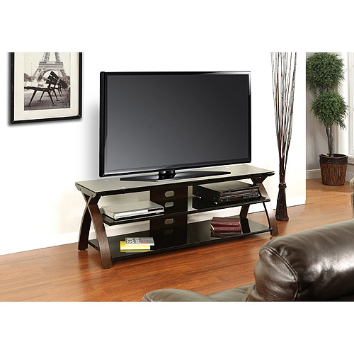 "Thompson TV Stand, For TV's Up to 70"", Wood and Glass, Walnut"