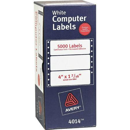 Avery 4014 Dot Matrix Mailing Labels, 1 Across, 1 7/16 x 4, White (Box of 5000)