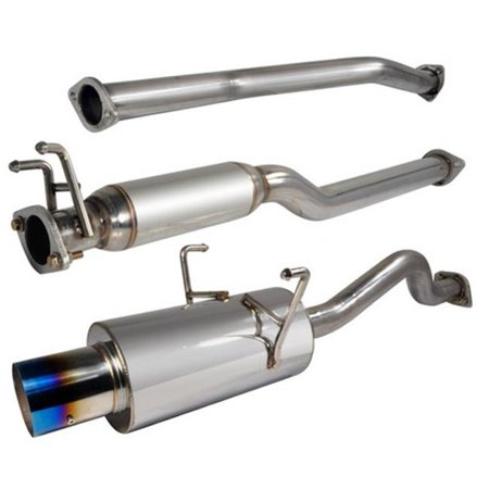 Spec-D Tuning MFCAT2-CV01T-SD 2.5 in. Inlet N1 Style Catback Exhaust System with 2 Or 4 Door Burnt Tip for 01 to 05 Honda Civic, 12 x 13 x 44 in.
