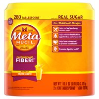 Metamucil Multi-Health Psyllium Fiber Supplement Powder with Real Sugar, Orange Flavored, 260 Servings (2x130 ct)