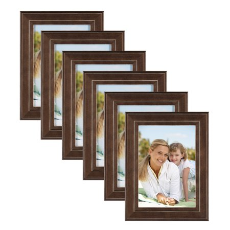 DesignOvation Kieva Solid Wood 5x7 Picture Frame, Distressed Brown, Pack of 6 (Photo Frame Packs)
