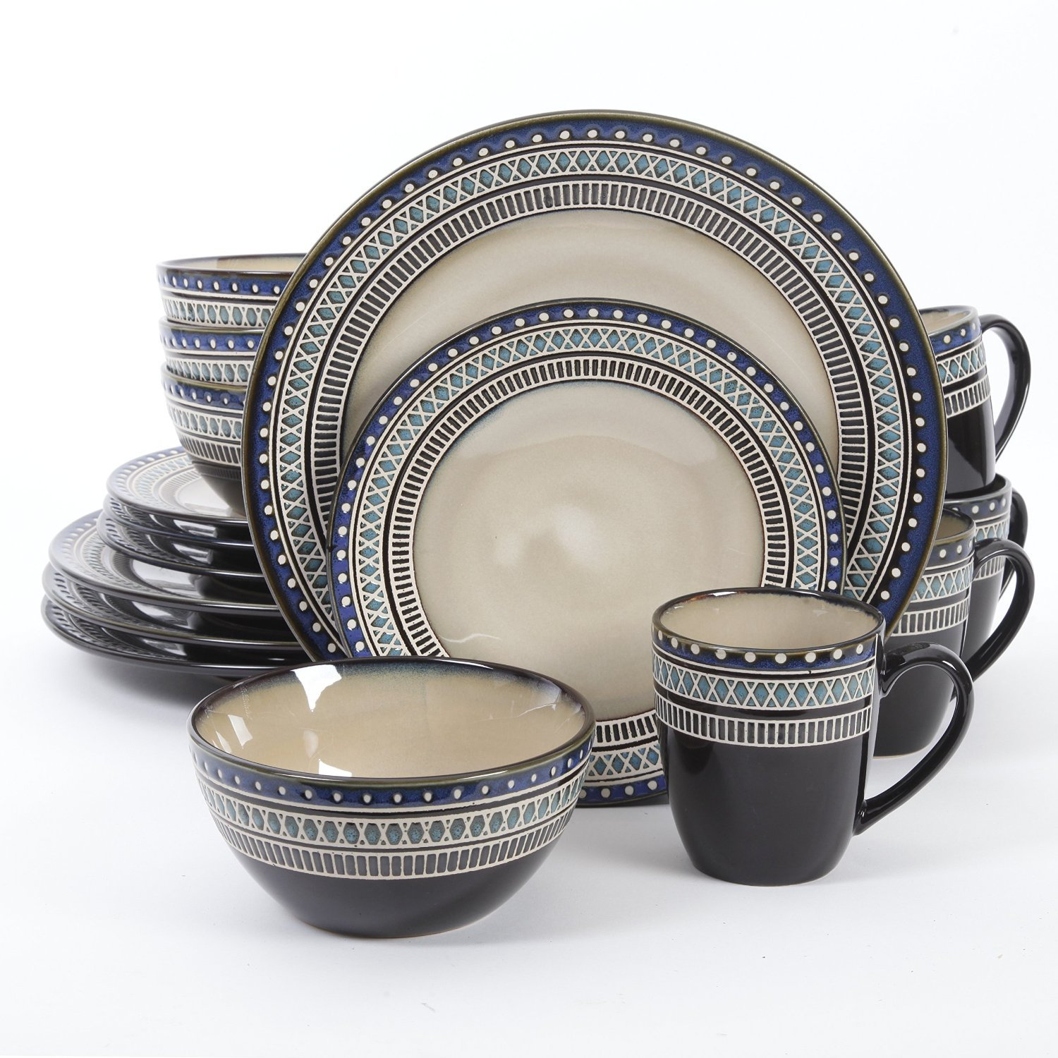 Gibson Magello 16 Piece Dinnerware Serving Set Cream/Blue