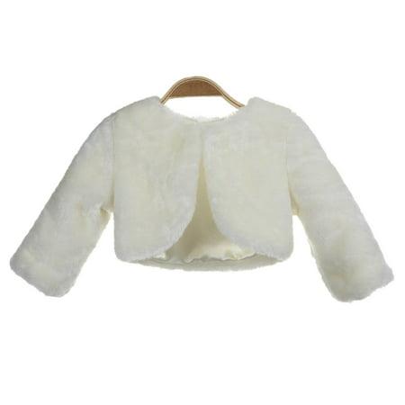 Ivory Faux Fur Capes Formal Flower Girl Bolero Cozy Fur Jacket (Girls Cape)