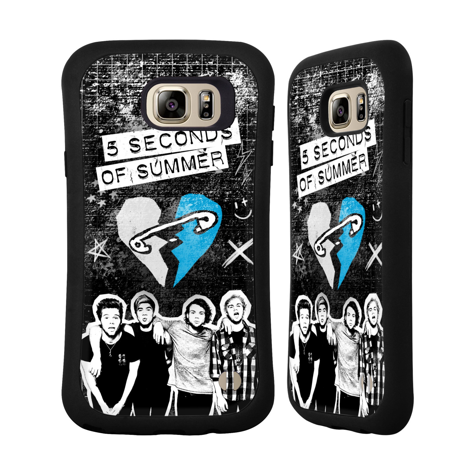 OFFICIAL 5 SECONDS OF SUMMER SAFETY PIN HEART HYBRID CASE FOR SAMSUNG PHONES