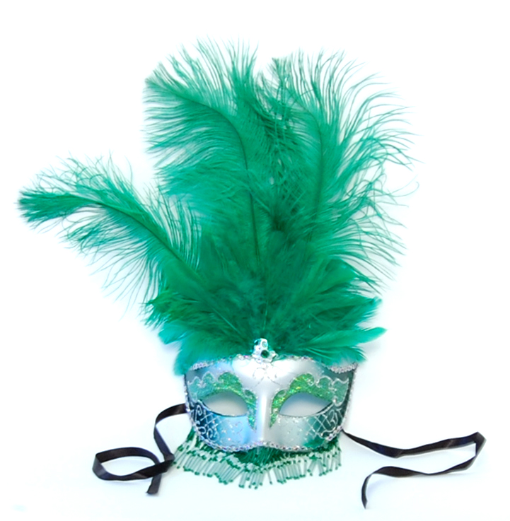 Exotica Beaded Eye Costume Mask W/Feather: Silver/Green