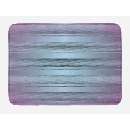 Modern Bath Mat, Gradient Toned Zig Zag Retro 80s Party Style Fragmented Stripes Graphic Artwork, Non-Slip Plush Mat Bathroom Kitchen Laundry Room Decor, 29.5 X 17.5 Inches, Lilac Blue, Ambesonne (80s Party Decor)