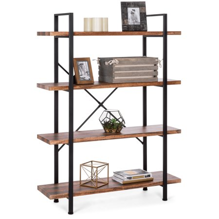 Best Choice Products 4-Shelf Industrial Open Bookshelf Organizer Furniture for Living Room, Office w/ Wood Shelves, Metal Frame - Brown/Black