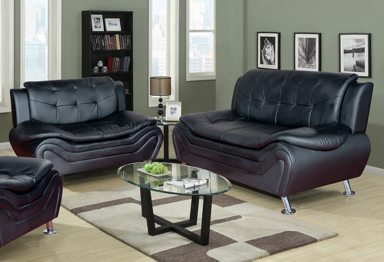 Frady 2 Pc Black Faux Leather Modern Living Room Sofa And Loveseat Set