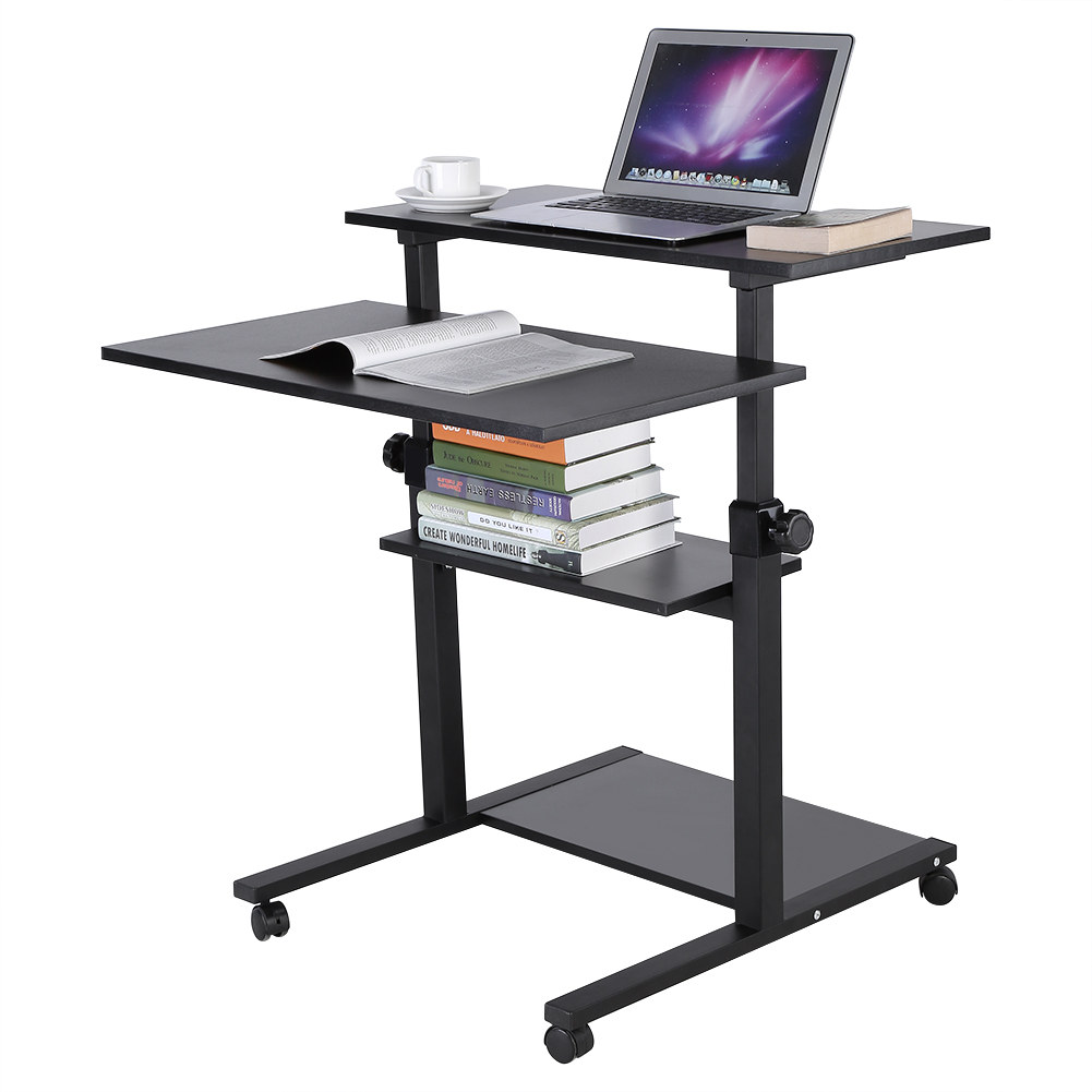 Wood Mobile Standing Desk Height Adjustable Computer Workstation Stand Up Desk Rolling Presentation Cart for Home Office