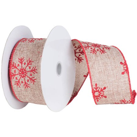 vickerman 4 natural burlap red snowflake christmas ribbon - Burlap Christmas Ribbon