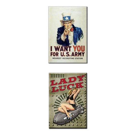 Bundle - 2 Items: Lady Luck Uncle Sam Magnets