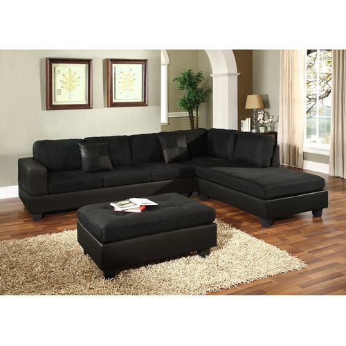 Venetian Worldwide Dallin Sectional Sofa, Black (Box 3 Of 3)