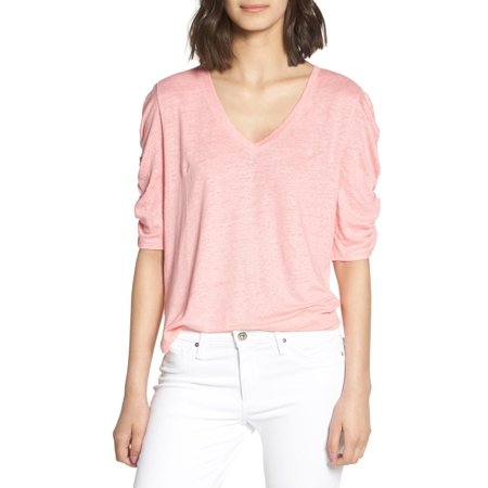 Womens Medium V-Neck Ruched Elbow Sleeve Top