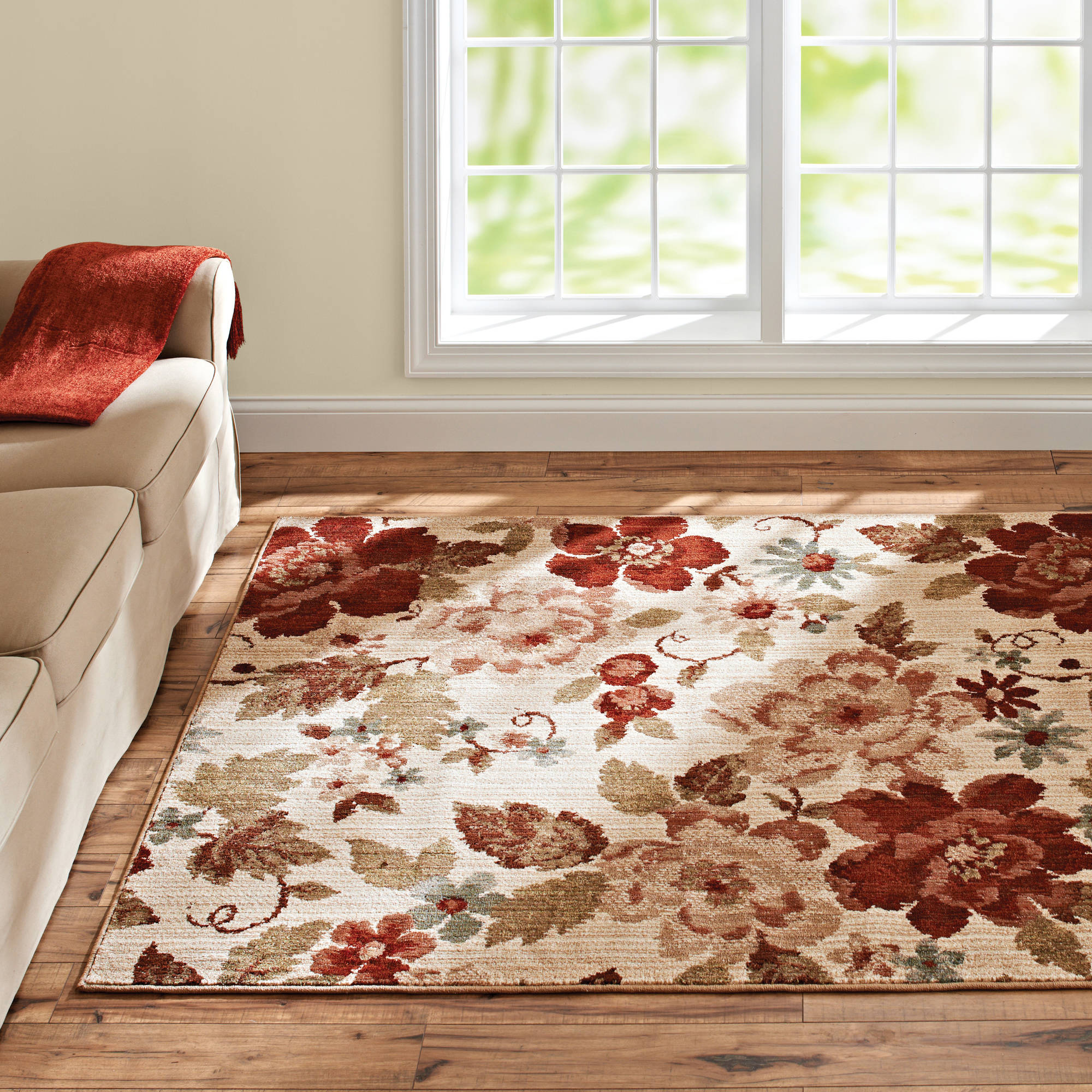 Better Homes or Gardens Floral Ivory Area Rug or Runner