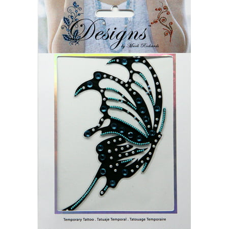 Large Teal & Black Butterfly Jeweled Temporary Tattoo - Mark Richards (Butterfly Tatoo)