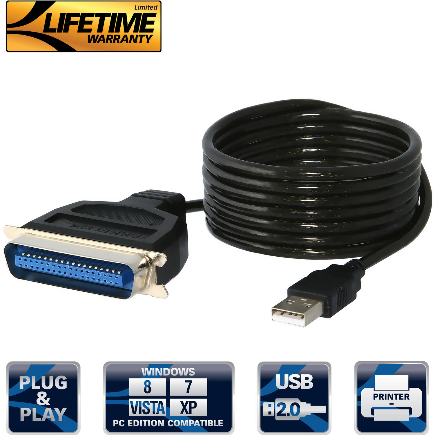 Sabrent SBT-UPPC USB to Parallel ( Printer IEEE 1284 ) Cable