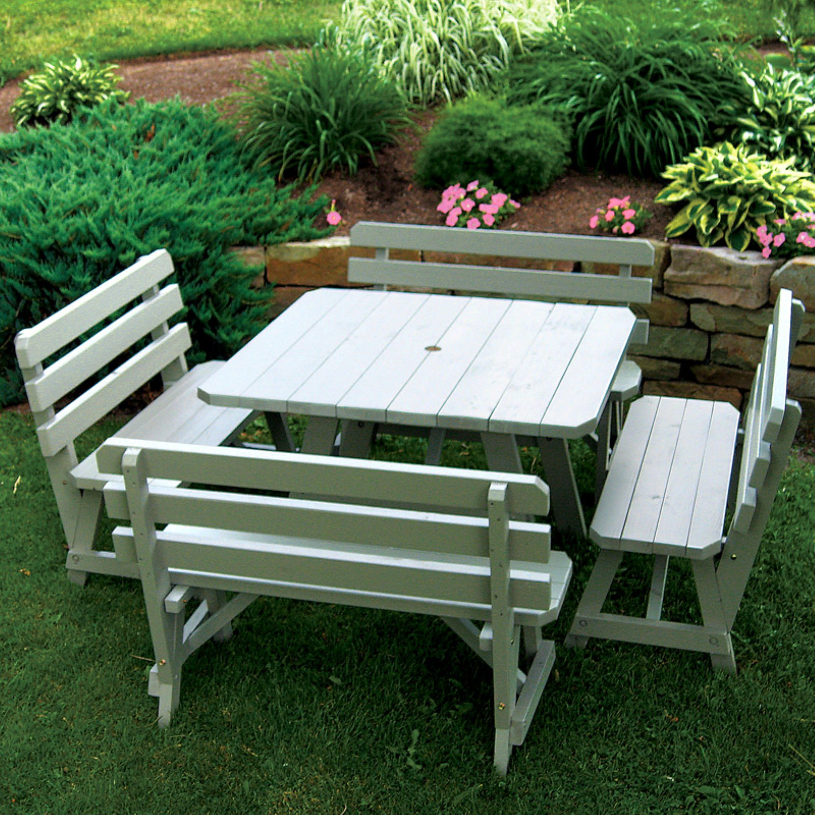 A & L Furniture Yellow Pine Traditional Square Picnic Table with 4 Backed Benches