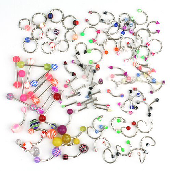 A Set of 100pcs Assorted Acrylic Tongue Lip Labret Navel Belly Eyebrow Rings Bars Barbell Body Piercing Jewelry (Random Color)