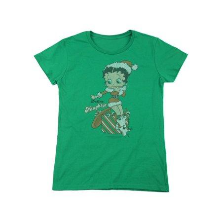 Betty Boop Cartoon Character Icon Define Naughty Christmas Women's T-Shirt - Female Christmas Characters