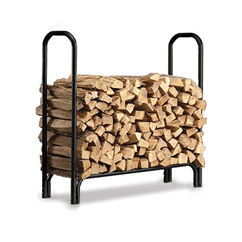 clevr 4ft outdoor log rack fireplace firewood holder wood storage carrier black - Fireplace Wood Holder
