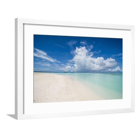 Lagoon Water (White sand and turquoise water in the beautiful lagoon of Funafuti, Tuvalu, South Pacific Framed Print Wall Art By Michael Runkel )