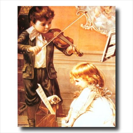 Victorian Boy Girl Piano Wall Picture Art
