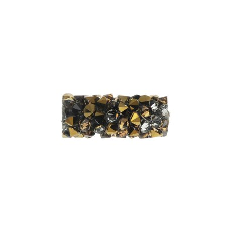 Swarovski Crystal, #5951 Fine Rocks Tube Bead without Metal Ends 15mm, 1 Piece, Light Colorado Topaz / Dorado ()