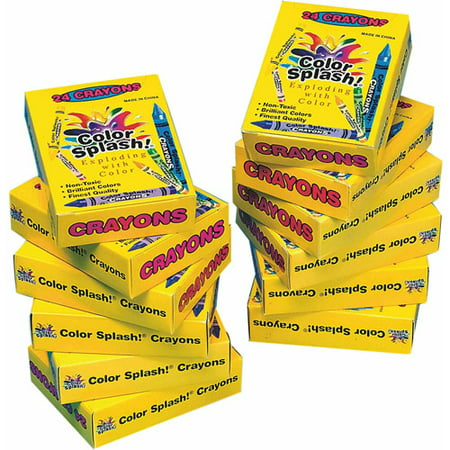 Color Splash! Crayons Box of 24, Pack of 12