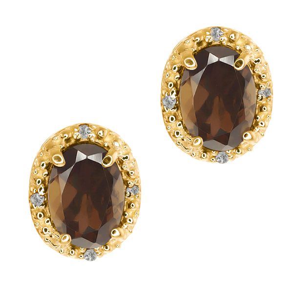 1.58 Ct Oval Brown Smoky Quartz and White Topaz 14k Yellow Gold Earrings