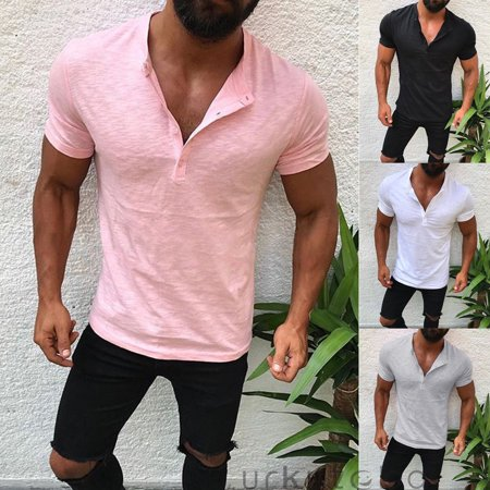 1c9baf7f Urkutoba - Men Slim Fit V Neck Short Sleeve Muscle Tee T-shirt Casual Tops  Henley Shirts - Walmart.com