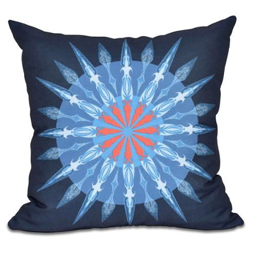 E by Design Sea Wheel Geometric Print 18 x 18-inch Outdoor Pillow