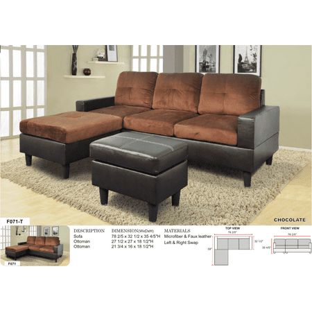 AYCP Furniture Small 3 Seats L Shape Simple Sectional Sofa Couch Set ...
