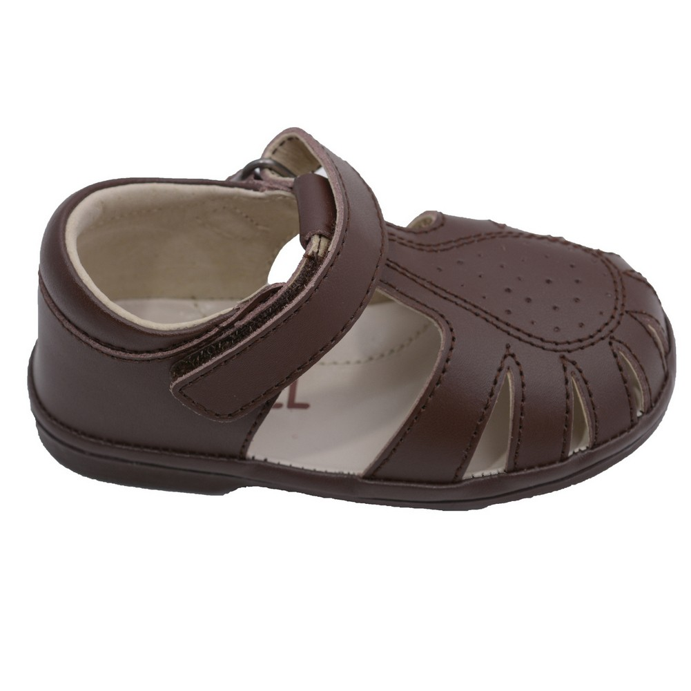 Angel Toddler Boys Brown Perforated Closed Sandals Shoes 4-7 Toddler